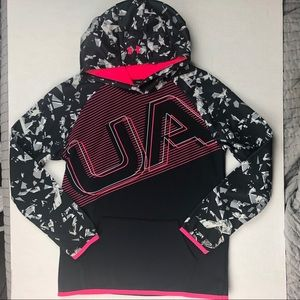 Under Armour Girl's Hoodie Black/Pink Size XLg